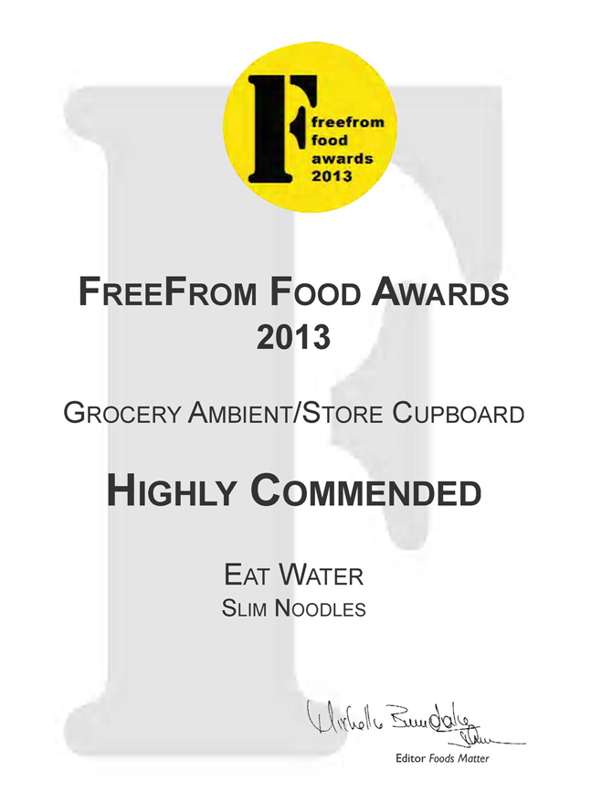 Highly commended by Free From Food for 2013